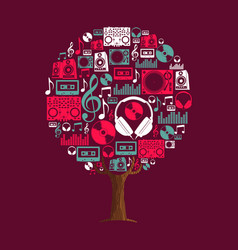 Music tree concept with party dj icon set vector