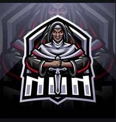 nun esport mascot logo design vector image
