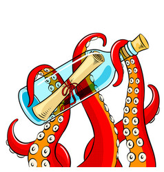 octopus and message in bottle pop art vector image