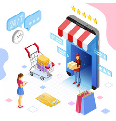 online internet shopping delivery isometric vector image