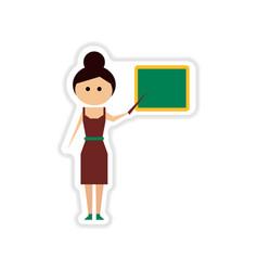 Paper sticker on white background woman teacher vector