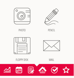 Photo camera pencil and mail icons vector