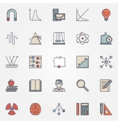 Physics flat icons set vector