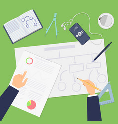 Planning agile concept top view business plan or vector