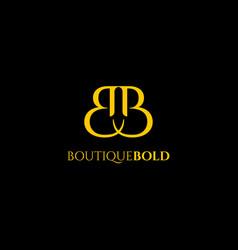 Premium b logo in gold color beautiful logotype vector