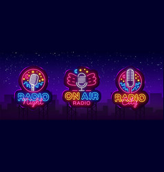 radio neon sign collection night vector image