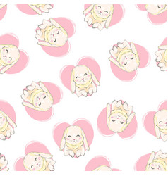 seamless pattern with cartoon bunnies for kids vector image