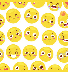 Seamless pattern with cheerful happy smileys for vector