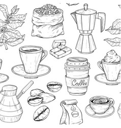 seamless pattern with coffee party collection vector image