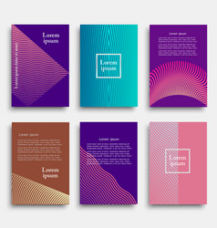 set creative cover design with geometric line vector image