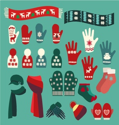 Set of cute warm Christmas mittens stockings and vector