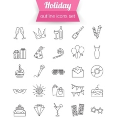 Set outline holiday and party icons champagne vector