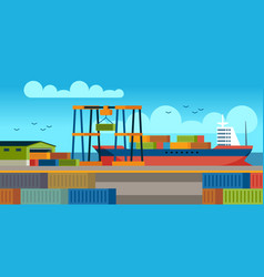 ships in dock loading containers on cargo ship in vector image