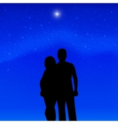 Silhouette couple in love background of stars vector image