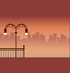 Silhouette of city street lamp scenery vector