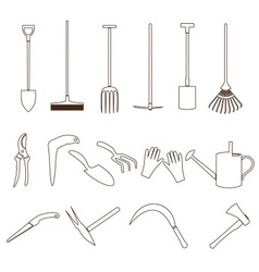 Simple black outline gardening tools icons eps10 vector