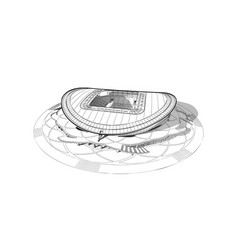 Sketch of the main stadium in kazan vector