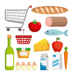 supermarket set products with special offer vector image