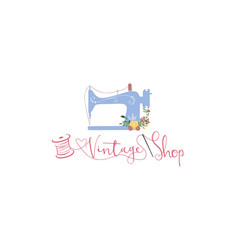 tailor sewing vintage fashion retro logo sign vector image