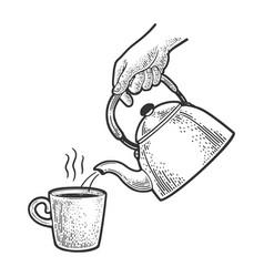 Tea pour kettle sketch vector
