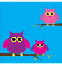 Three cute owls and cloud Card vector image