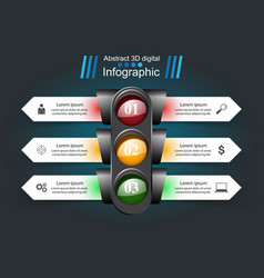 traffic light infographic business icon vector image