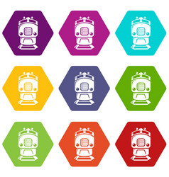 Train icons set 9 vector