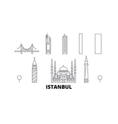 Turkey istanbul line travel skyline set turkey vector