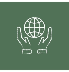 Two hands holding globe icon drawn in chalk vector image