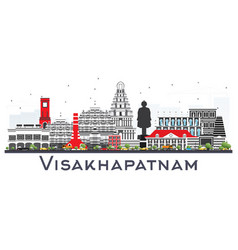 Visakhapatnam skyline with gray buildings vector