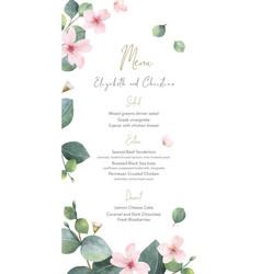 Watercolor hand painted wedding menu card vector