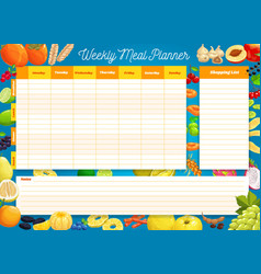 Weekly meal planner timetable week plan vector