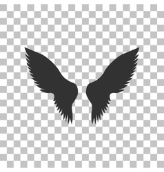 Wings sign Dark gray icon on vector