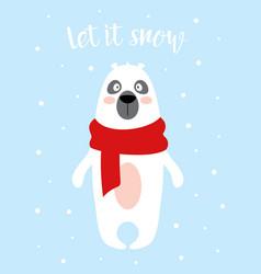 winter card with polar bear isolated on snow vector image