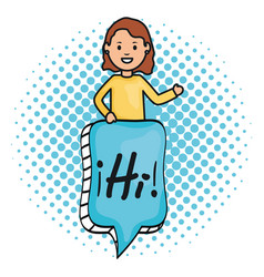 woman and speech bubble with hi message vector image