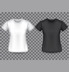 Woman t-shirt white black front checkered vector