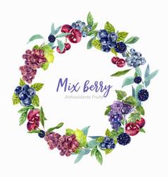 Wreath design with fruits grape berry creative vector