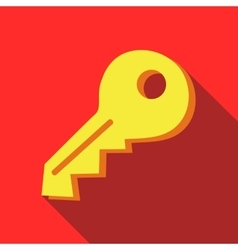 Yellow key icon in flat style vector image