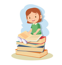 young girl learning and reading book vector image