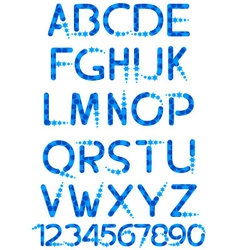 alphabet with snowflakes vector image vector image