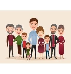Big happy family cartoon concept vector image