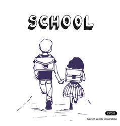 Boy and girl go to school vector image