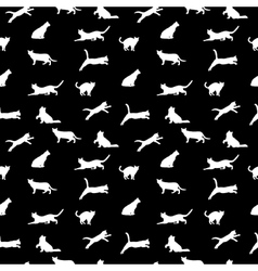 cat seamless background silhouette vector image vector image