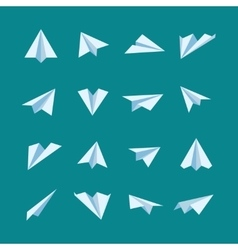 Paper planes flat icons set vector image