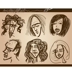 people faces caricature drawings set vector image