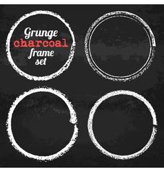 Set of four grunge circle chalk frames vector image vector image