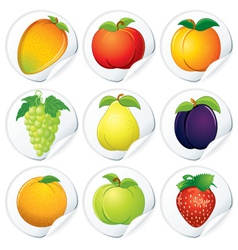 set of isolated stickers with fresh fruits vector image vector image