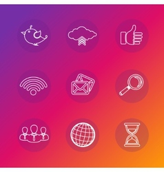Set of social network icons in white silhouette vector image vector image