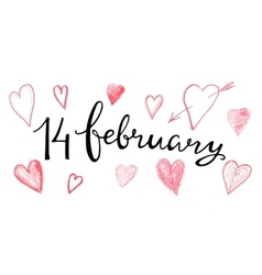 Valentines hand lettering 14 february vector image