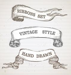 Vintage hand-drawn ribbon banners set vector image vector image